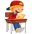 happy boy reading paper on chair vector image vector image