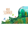hello summer paper art style vector image