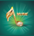 i a golden glass 3d music note on dark green vector image