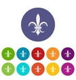 Lily heraldic emblem set icons vector image vector image