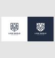 lion shield logo design vector image
