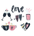 lovely icons collection for valentines day vector image