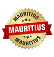 Mauritius round golden badge with red ribbon vector image vector image