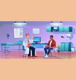 patient listening to specialist in doctors office vector image vector image
