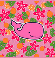 pattern with pink sperm whales vector image vector image