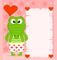 pink valentines day background with crocodile vector image vector image