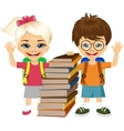 portrait of cute schoolboy and schoolgirlbooks vector image vector image