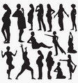 pregnant women activity silhouettes vector image vector image