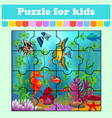 puzzle game for kids fish in sea education vector image vector image