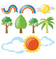rainbows and trees set vector image