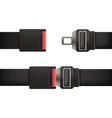 realistic detailed 3d open and closed seatbelt set vector image