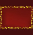 red background with frame of golden leaves vector image