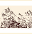 river flowing in mountains hand drawn alpine vector image vector image