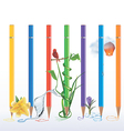 Set of coloured pencils with sketches and pictures vector image vector image