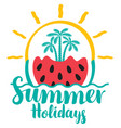 summer holidays with watermelon palms and sun vector image vector image