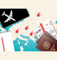 travel accessories vacation concept with pins vector image vector image