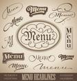 Vintage menu headlines