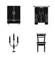 wardrobe window with curtains candlestick chair vector image vector image