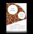White flyer with orange geometric designs tribal vector image vector image