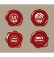 Premium labels on wax seal stamps vector image