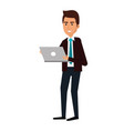 elegant businessman using laptop avatar character vector image
