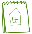 A notebook with a sketch of a house at the cover vector image vector image