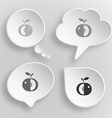 Apple White flat buttons on gray background vector image