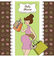 baby announcement card with beautiful pregnant vector image