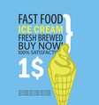 banner with ice cream on blue background vector image vector image