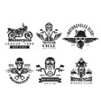 biker labels vintage custom motorcycle and vector image