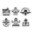 biker labels vintage custom motorcycle vector image