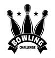 bowling challenge logo simple style vector image vector image
