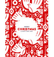 christmas and new year card red nordic birds vector image vector image