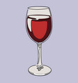 colored continuous line drawing glass red wine vector image