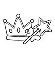 crown and wand black and white vector image