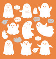 cute ghosts icons on orange halloween vector image