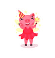 cute pig character in a pink dress and party hat vector image vector image