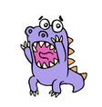 cute purple dragon in panic vector image vector image