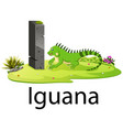 cute zoo animal alphabet i for iguana vector image vector image