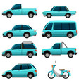 different types of transportations in light blue vector image vector image