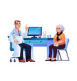 doctor consult elderly lady therapist and patient vector image vector image