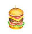 fast food meal watercolor on white background vector image