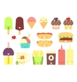 Fast food sticker set vector image