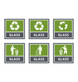 glass recycling labels set waste sorting icons vector image vector image