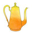 hand drawn watercolor coffee pot vector image vector image