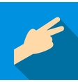 Hand with two fingers flat icon vector image