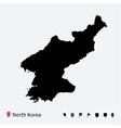 High detailed map of North Korea with navigation vector image