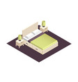 isometric part of the bedroom interior design vector image vector image
