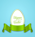 Label with ribbon as Easter paper egg vector image vector image