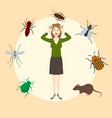 madly frightened woman girl afraid pests vector image vector image